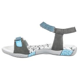 Hasby Płaskie sandały na rzep szare 3