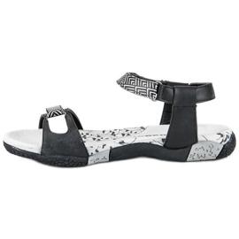 Hasby Płaskie Sandały Na Rzep czarne 1