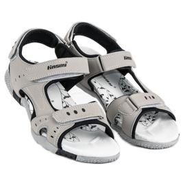 Hasby Sportowe sandały płaskie szare 3