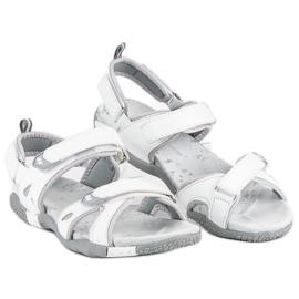 Hasby Damskie sandały na rzepy białe 2