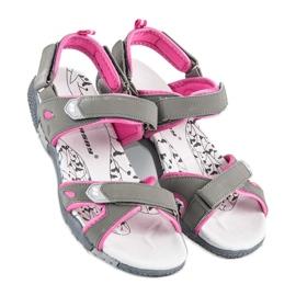 Hasby Damskie sandały na rzepy szare 2