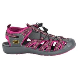 American Club Zabudowane sandały american fioletowe szare 2
