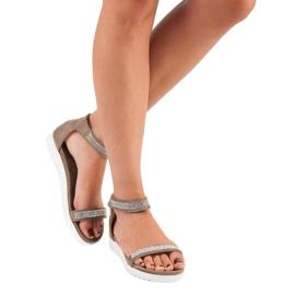 Evento Eleganckie sandały na rzep brązowe 5