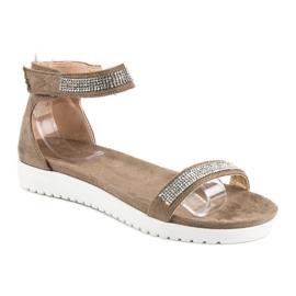 Evento Eleganckie sandały na rzep brązowe 1