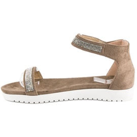 Evento Eleganckie sandały na rzep brązowe 2