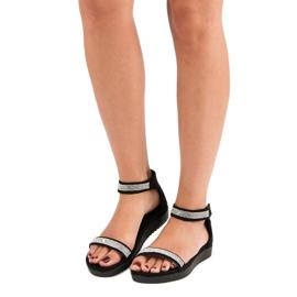 Evento Eleganckie sandały na rzep czarne 4