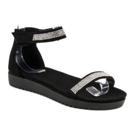 Evento Eleganckie sandały na rzep czarne 1
