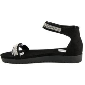 Evento Eleganckie sandały na rzep czarne 2