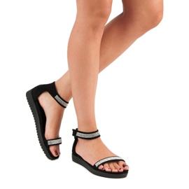 Evento Eleganckie sandały na rzep czarne 5