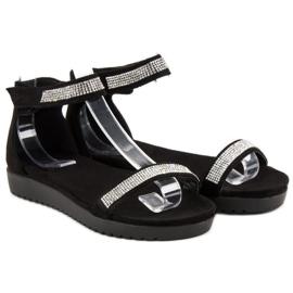Evento Eleganckie sandały na rzep czarne 3