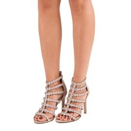Różowe sandały na szpilce wielokolorowe 4
