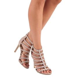 Różowe sandały na szpilce wielokolorowe 5