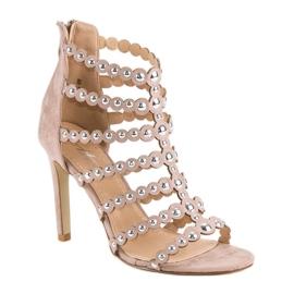 Różowe sandały na szpilce wielokolorowe 6