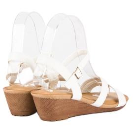 Bello Star Wygodne sandały na koturnie białe 3