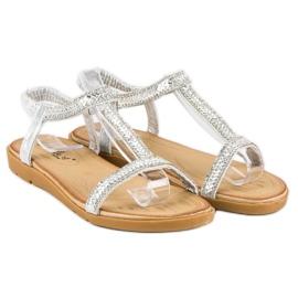 Fama Srebrne sandały z gumką szare 4