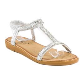 Fama Srebrne sandały z gumką szare 1
