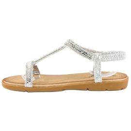 Fama Srebrne sandały z gumką szare 2
