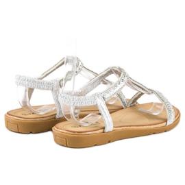 Fama Srebrne sandały z gumką szare 3