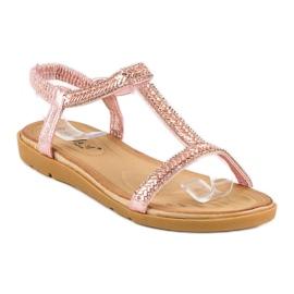 Fama Różowe sandały z gumką 1