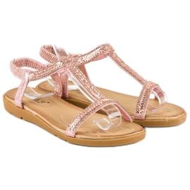 Fama Różowe sandały z gumką 4