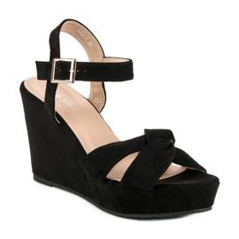 Bello Star Czarne sandały na koturnie 2