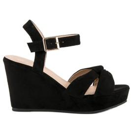 Bello Star Czarne sandały na koturnie 1