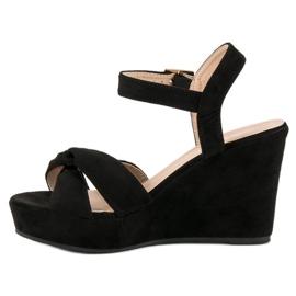 Bello Star Czarne sandały na koturnie 3
