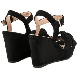 Bello Star Czarne sandały na koturnie 4