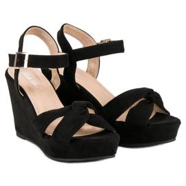 Bello Star Czarne sandały na koturnie 5