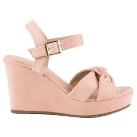 Bello Star Różowe sandały na koturnie 1