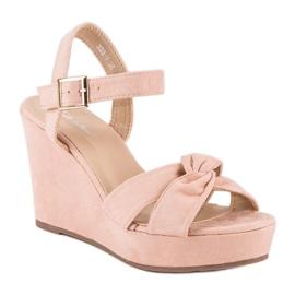 Bello Star Różowe sandały na koturnie 2
