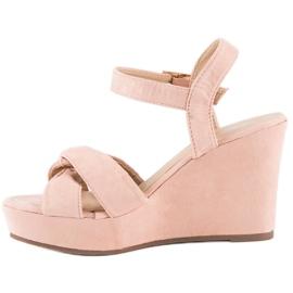 Bello Star Różowe sandały na koturnie 3