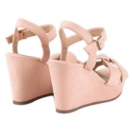 Bello Star Różowe sandały na koturnie 4