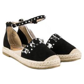 Płaskie sandały espadryle czarne 4