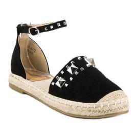 Płaskie sandały espadryle czarne 1