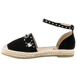 Płaskie sandały espadryle czarne 2