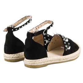 Płaskie sandały espadryle czarne 3