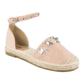 Płaskie sandały espadryle różowe 1