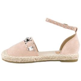 Płaskie sandały espadryle różowe 2
