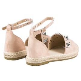 Płaskie sandały espadryle różowe 3