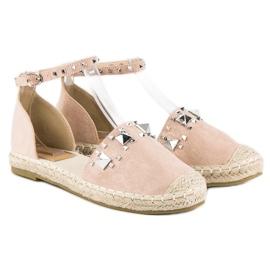 Płaskie sandały espadryle różowe 4