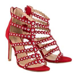 Czerwony sandały na szpilce czerwone 4