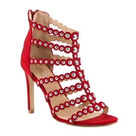 Czerwony sandały na szpilce czerwone 1