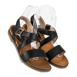 Bello Star Płaskie sandały na sprzączkę czarne 4
