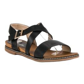 Bello Star Płaskie sandały na sprzączkę czarne 1