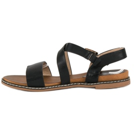 Bello Star Płaskie sandały na sprzączkę czarne 2