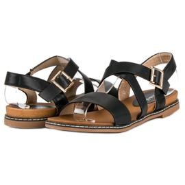Bello Star Płaskie sandały na sprzączkę czarne 3