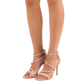 Bello Star Różowe sandałki na szpilce 4