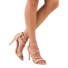 Bello Star Różowe sandałki na szpilce 5
