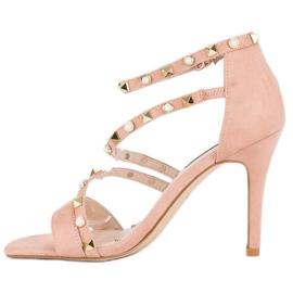 Bello Star Różowe sandałki na szpilce 1